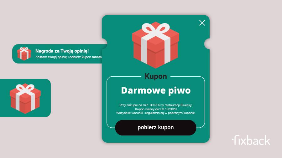 Kupon, nagroda za udzieloną opinie na platformie Fixback